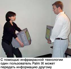 С помощью инфракрасной технологии один пользователь Palm IX может передать информацию другому