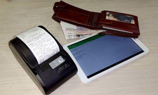 Мобильная онлайн касса ОПТИМУМ в составе планшета, фискального регистратора с чековым принтером АТОЛ 11Ф